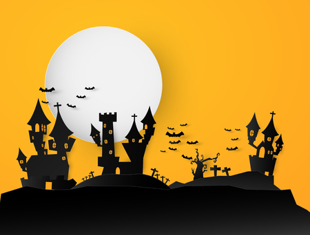 Castle Halloween Text Banner background. Paper cut vector illustration Ilustrace