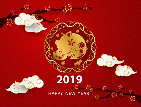 Happy chinese new year 2019 banner card pig gold vector graphic and background Иллюстрация