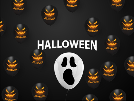 Halloween Carnival Background, Black balloons concept design Party, Celebration Vector illustration. Иллюстрация