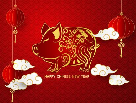 Felice anno nuovo cinese 2019 banner carta maiale oro grafica vettoriale e sfondo