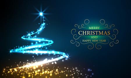 Fondo de bokeh de árbol de luces de Navidad con cartel de vector de fiesta