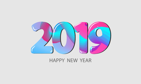 2019 Happy New Year concept. Abstract gradients waves background. colorful vector illustration