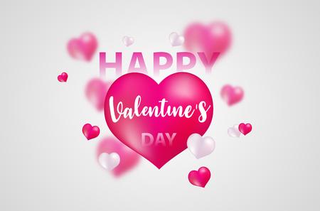 Día de San Valentín, plantilla de banner. corazón rojo con letras en el fondo. diseño de carteles de etiquetas Folleto de vector. Ilustración de vector