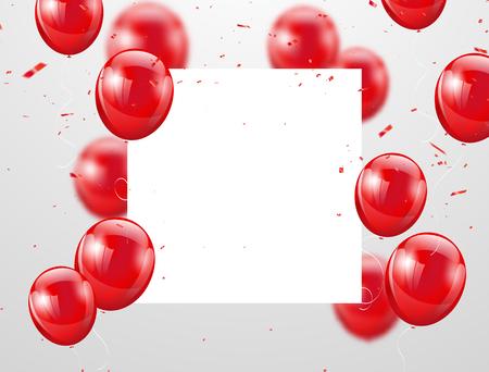 rote Luftballons, Vektorillustration. Konfetti und Bänder, Feierhintergrundschablone mit