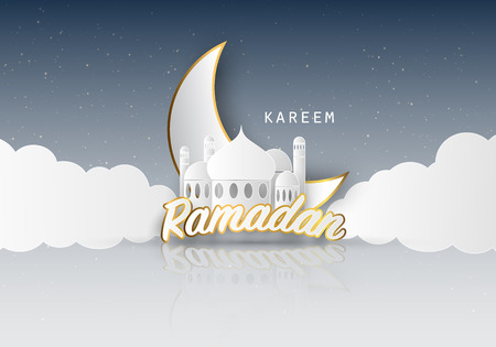 Ramadan kareem background. Paper cut vector illustration with mosque and moon, place for text greeting card and banner Illustration