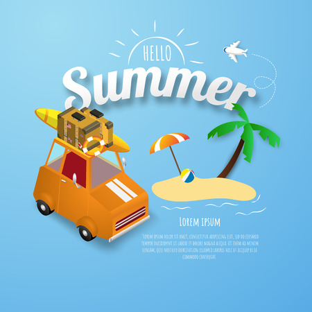 Spring Summer poster, banner Orange car park at beach vector illustration and design for card,