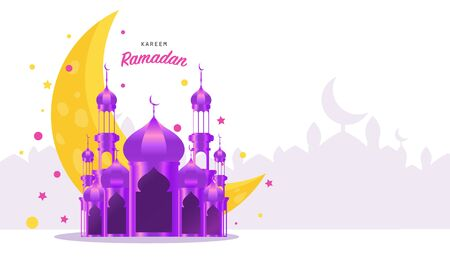 Ramadan kareem 2020 background. vector illustration with mosque and moon, place for text greeting card and banner