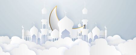Ramadan kareem 2020 background. Paper cut vector illustration with mosque and moon, place for text greeting card and banner 向量圖像