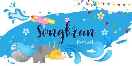 Songkran festival celebration thailand holiday background Ilustração