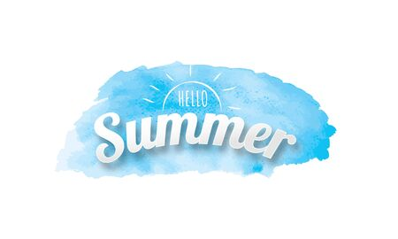 Hello Summer poster, Blue watercolor hand drawn isolated background Ilustração Vetorial