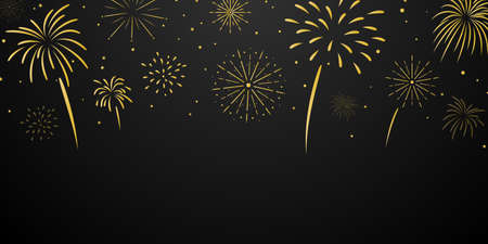 Celebration background template with fireworks gold. luxury greeting rich card. Vektorgrafik