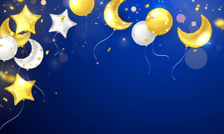 Celebration party banner with gold balloons background. Sale Vector illustration. Grand Opening Card luxury greeting rich. Stock Photo