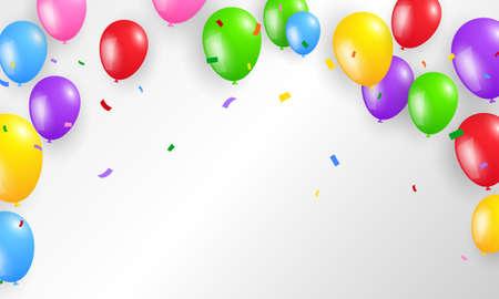 balloons confetti colorful background Celebration Stockfoto