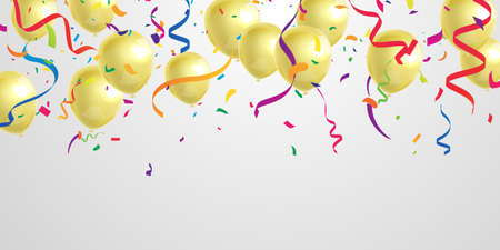 Celebration party banner with Gold balloons background. Sale Vector illustration. Grand Opening Card luxury greeting rich.