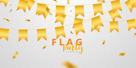 flag celebration Confetti and ribbons gold frame party banner, Event Birthday background template with.