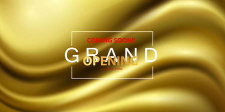 Abstract gradients, fabric gold waves banner template background. Grand opening event design.