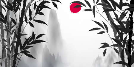 Background picture white mountain and white fog and bamboo