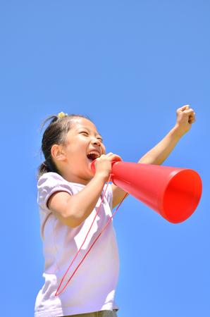 Cheer megaphone girl blue sky