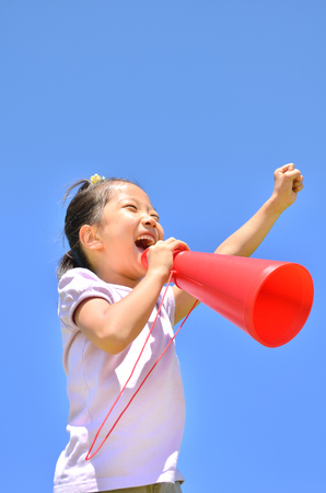 Cheer megaphone girl blue sky