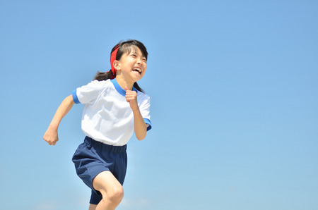 gym clothes: Girl in blue sky gym clothes Stock Photo
