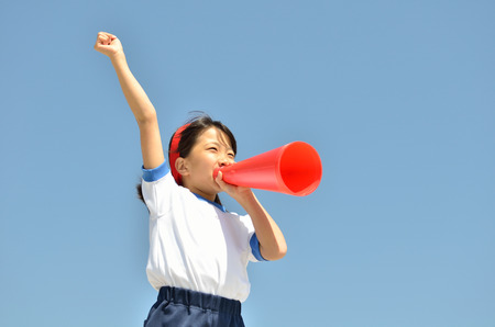 Girls at the blue sky gym uniform, megaphone