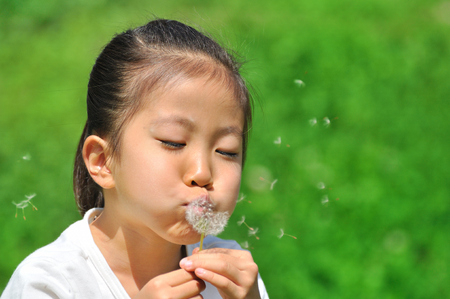 Girl with dandelion fluff