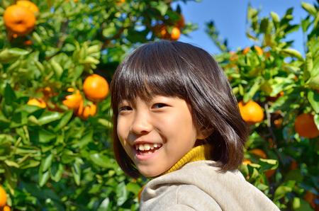 picking: Girls enjoy picking oranges