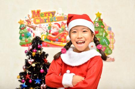 santa claus costume: Santa Claus costume girl Stock Photo