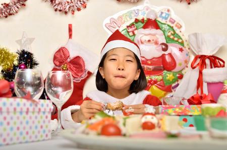 santa cena: Traje de Santa Claus para disfrutar de la ni�a de la fiesta de Navidad