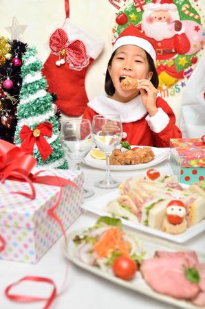 santa cena: Santa Claus costume to enjoy the Christmas party girl Foto de archivo