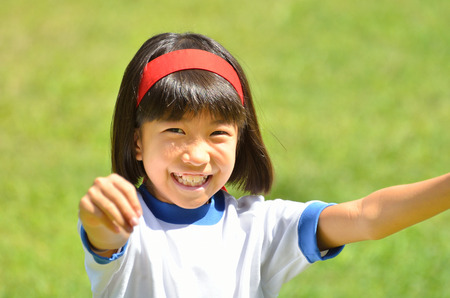 sports day: Girl raise hands (Sports day)