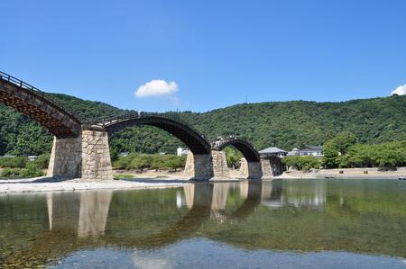 noon: Kintaikyo bridge (Iwakuni Japan Yamaguchi) Stock Photo