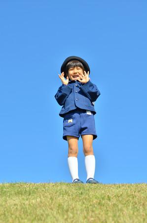 Kindergarten girl smiling Stock Photo