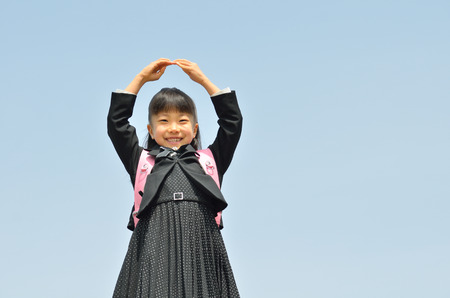 1 person: The first grade girl in the blue sky