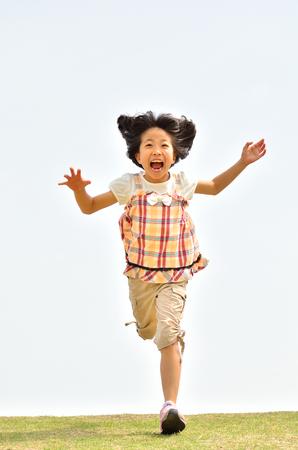 Girls running in the sky