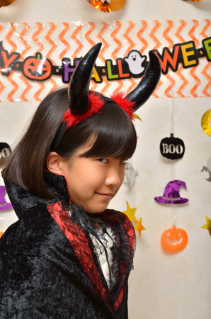 Girls enjoy Halloween