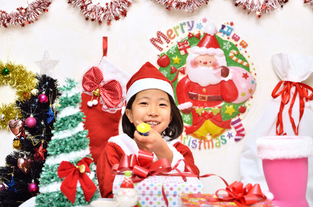 Girls enjoy Christmas party Stock Photo