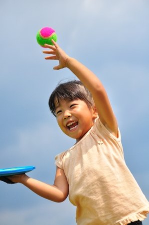 Girls playing with ball