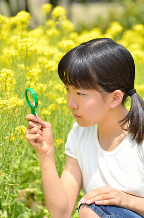 Girls watching the flowers with a magnifying glass Stock Photo