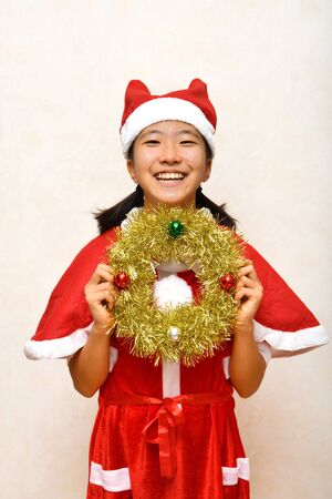 Japanese girl enjoys Christmas party