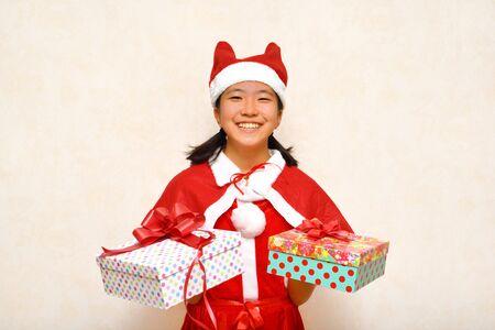 Japanese girl enjoys Christmas party