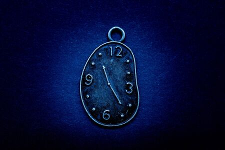 Time concept on black background, past present future clock,