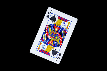Playing card, spade jack on black background