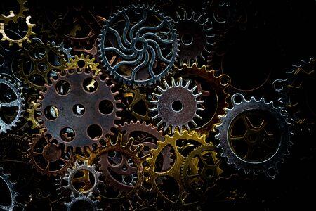 Gears on black background Foto de archivo