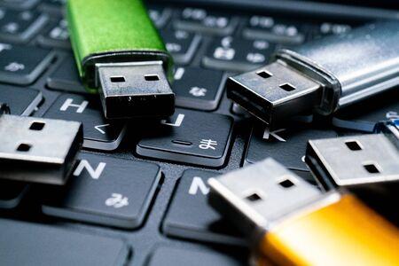 USB flash drive memory and computer keyboard
