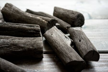 Japanese charcoal, Binchotan Foto de archivo - 150555501