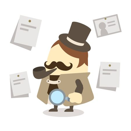 Illustration of a detective with a magnifying glass
