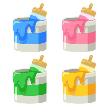 Illustration of four types of paint cans (pink, blue, green and yellow)