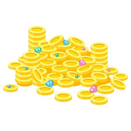 Illustration of treasure of money and jewelry Illustration