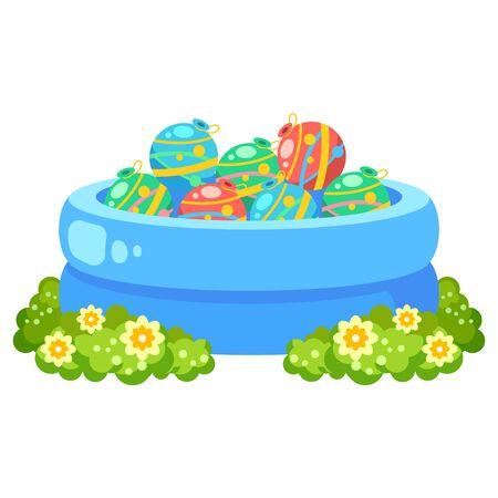 Illustration of yo-yo fishing (pool of water balloons) Illustration